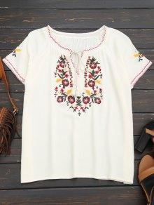 Tassel Embroidered Tie Neck Tee - White M