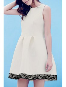 Lace Splice Round Neck Sleeveless Flare Dress - White L