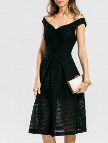 Convertible Collar Plain Flare Dress - Black L
