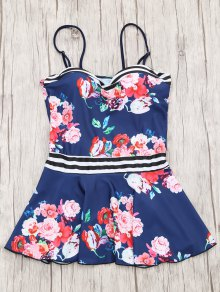Skirted Moulded Tankini Top And Bikini Bottoms - Navy Blue S