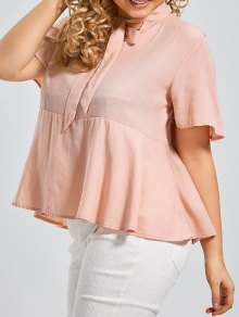 Plus Size Tied Neck Smock Blouse - Shallow Pink 2xl