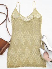Metallic Mesh Cover Up Beach Dress - Golden