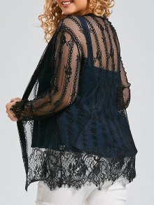 Plus Size Lace Cover Up Kimono Top - Black 5xl