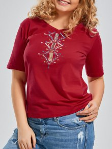 Embroidered V Neck Plus Size T-shirt - Red Xl