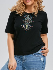 Embroidered V Neck Plus Size T-shirt - Black 2xl
