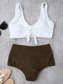 Knotted High Waisted Ruched Bikini Set - Brown Xl