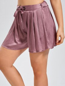 Crushed Self Tie Shorts - Pinkish Purple 3xl