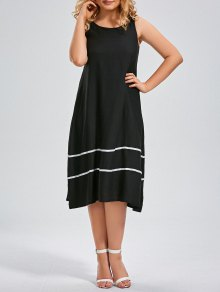 Midi Striped Trapeze Tank Dress - Black 2xl