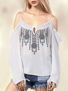 Embroidered Cold Shoulder Spaghetti Straps Long Sleeve Blouse - White M
