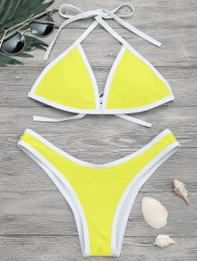 High Cut Contrast Piping Bikini Set - Lemon Yellow S
