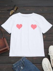 Camiseta De Cuello Redondo Con Estampado De Corazón - Rosa S
