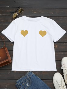 Heart Print Round Collar Tee - Ginger M