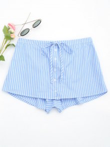 Drawstring Button Up Striped Skorts - Light Blue M