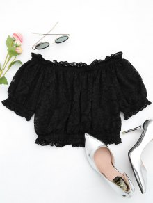 Off The Shoulder Ruffle Hem Lace Blouse - Black S