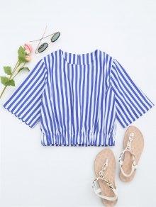 Round Collar Striped Crop Blouse - Blue M