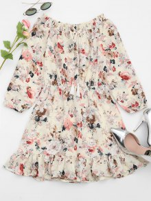 Ruffle Hem Floral Print Dress - Beige S