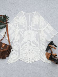 Embroidered Sheer Lace Beach Kimono Cover Up - White