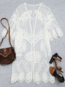 Sheer Lace Beach Kimono Cover Up - White