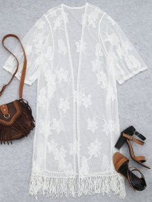 Sheer Lace Embroidered Beach Kimono Cover Up - White
