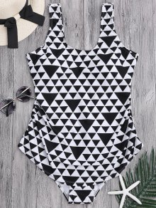 Geometric Pattern Scoop Plus Size Swimwear - White And Black 2xl