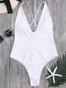 High Cut Cross Back Swimwear - White S