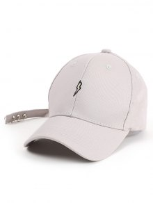 Lightning Embroidery Circles Long Tail Hat - Light Gray