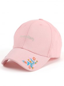 Letters Flowers Embroidery Baseball Hat - Pink