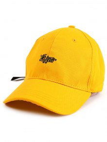 Letters Embellished Long Tail Baseball Hat - Yellow