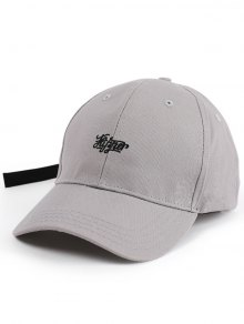 Letters Embellished Long Tail Baseball Hat - Gray