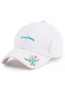 Letters Flowers Embroidery Baseball Hat - White