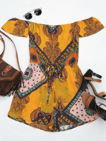 Short Sleeve Printed Tube Romper - Multi S