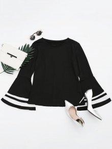 Drop Shoulder Contrast Flare Sleeve Tee - Black M