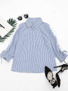 Hollow Out Beading Button Up Shirt - Stripe Xl