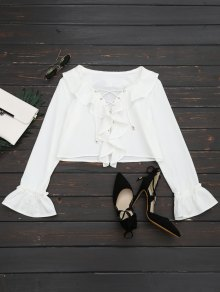 Lace Up Ruffle Hem Crop Blouse - White S