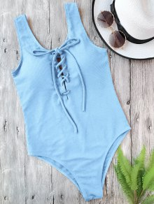 Textured Padded Lace Up One Piece Swimsuit - Light Blue S