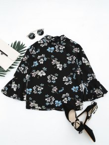 Flare Sleeve Floral Printed Blouse - Black L