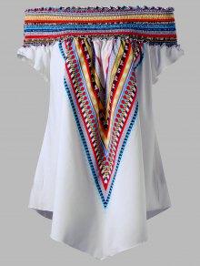Colorful Elastic Off Shoulder Plus Size Tunic Blouse - White 5xl