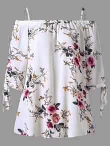 Plus Size Floral Cold Shoulder Blouse - White 2xl