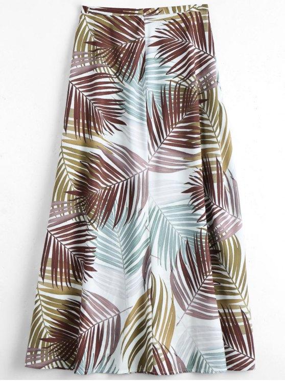 ladies Leaves Print Maxi Flare Skirt - MULTI M
