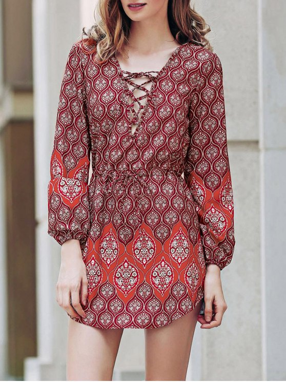 womens Loose Digital Print Round Neck Long Sleeve Dress - RED S