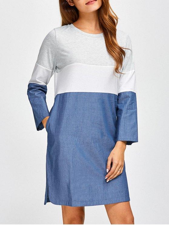 womens Color Block Denim Spliced Dress - DENIM BLUE XL