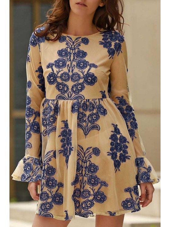 womens Long Sleeve Embroidered Mini Tulle Dress - BLUE S