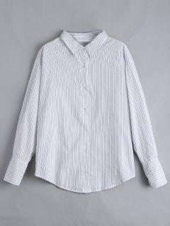 Chemise Rayée Boutonnée Épaules Descendantes - Blanc L