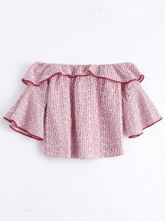 Flare Sleeve Flounce Striped Blouse - Red L