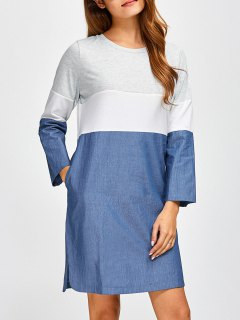 Color Block Denim Spliced Dress - Denim Blue 2xl