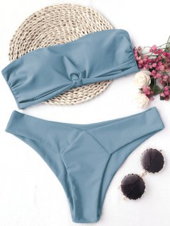 Knot Padded Bandeau Bikini Set - Blue M