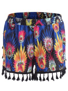 Tassel Feather Print Plus Size Mini Shorts - Blue 5xl