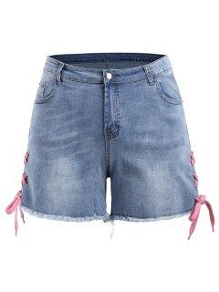Lace Up Denim Mini Plus Size Shorts - Denim Blue 5xl