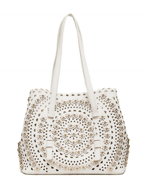 shops Cut Out Rivet Shoulder Bag - WHITE  Mobile