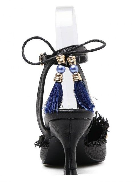 sale Anchor Pattern Tassels Kitten Heel Pumps - BLACK 38 Mobile